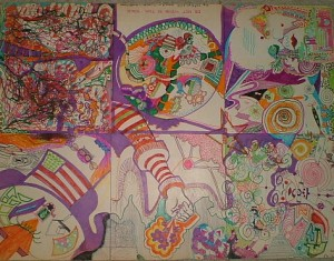 "In 1971 we participate in the event ""L'art pour tous"" (art for all) in the Musée D'ART & HISTOIRE in Geneva, and one result ist this Col-Art-work, with about 15 participants.     Concept: M.K.             60 / 90 cm       colored pencil on cardboard . The museum of art & history  of the city  acquires 15 Col-Art-prints ! I also realize a written and drawed dialogue with genevian artist  Gérald Ducimetière."