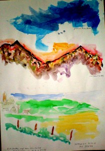 """This painting was started by a child of 3 years (Yannick Fuchs) , who realized the blue part and declared: """"It's the sky!"""". I, Marc, did the part in the middle with red mountains, and Norbert Rinck (who was at that time 73 years old) did the land- scape below... 60 / 40 cm     watercolors on paper"""