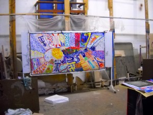 In the large workshop of the municipality of Adeje, Tenerife, you see a Col-Art-Painting, realized 2010 in Guimar with 15 participants.  Concept : M.Kuhn Acrylic on canvas   120 / 240 cm