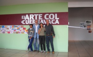"In February and March 2011 the ""Galeria Manuel Contreras de la Universidad autonoma del Estado de Morelos"" shows a large exhibition of Col-Art-works and the success is considerable!  On the picture you see (from the left to the right): -Nadia Altamirano, -Toni Kuhn, -Rossana Duran & Marc Kuhn."