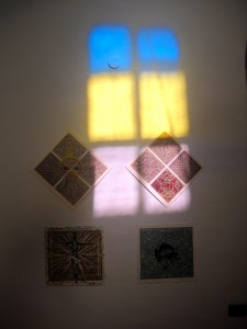 "In our Col-Art-exhibition in the gallery ""El Castillo"" in La Laguna we showed some (of about 100 !) variations & interventions (by good artists of Mexico,  Switzerland, Germany, France, Spain) on woodcuts by famous swiss artist Martin Thönen. On the photo you see four of these realisations."