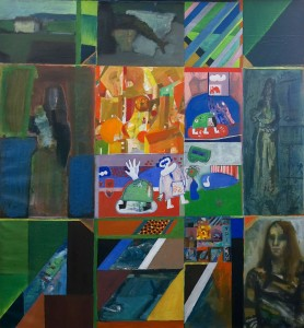 Concept: M.Kuhn 140 / 140 cm   Acrylic & Oil / canvas Participants: -Heinz-Peter Kohler, -Sylvie Neuhaus, -Lis Kocher, -Rolf Spinnler,  -Marc Kuhn.
