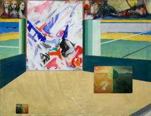 Concept: M.Kuhn 90 / 140 cm   Acrylic /canvas Participants: -Esther Gruber, -Kurt Fahrner, -Peter Bär, Marc Kuhn