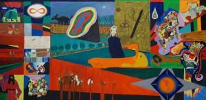 Concept: M.Kuhn 130 / 270 cm Acrylic /canvas Participants: -Lis Kocher, -Cécile Etter, -Albert Willen, -Manfred Hölzel, -Sohan Qadri, -Mahirwan Mamtani, -Dolores Wyss, -Sherif al Sheroufi, -Albert Longoni. -Marc Kuhn.